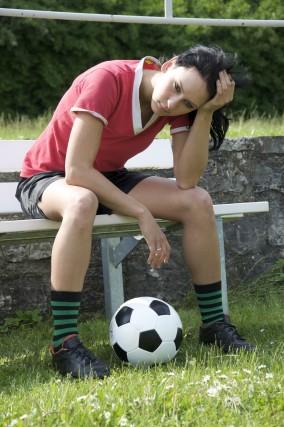 overwhelmed female athlete